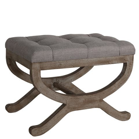 "Cortesi Home Falmouth X-Bench Ottoman with Solid Wood Legs, 17"", Beige Fabric Cushion"