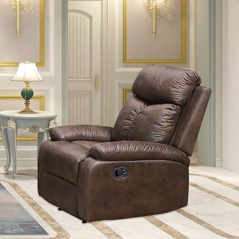 Vanity Art Brown Microfiber 1-Seat Rocker Reclining Chair Glider Recliner Club Chair