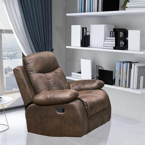 Vanity Art Brown Microfiber 1-Seat Rocker Reclining Chair Glider Recliner Club Chair