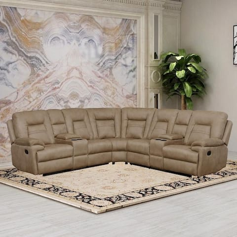 Vanity Art Brown Microfiber 3-Pieces Reclining Loveseat with Console Living Room Set Recliner Sofa