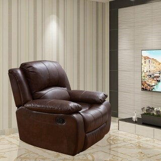 Vanity Art Bonded Leather Rocker Reclining Chair Glider Recliner Club Chair for Living Room - 1 Seat(Black,Brown)