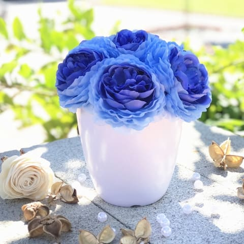 Enova Home Faux Peony Flower Arrangement in White Pot
