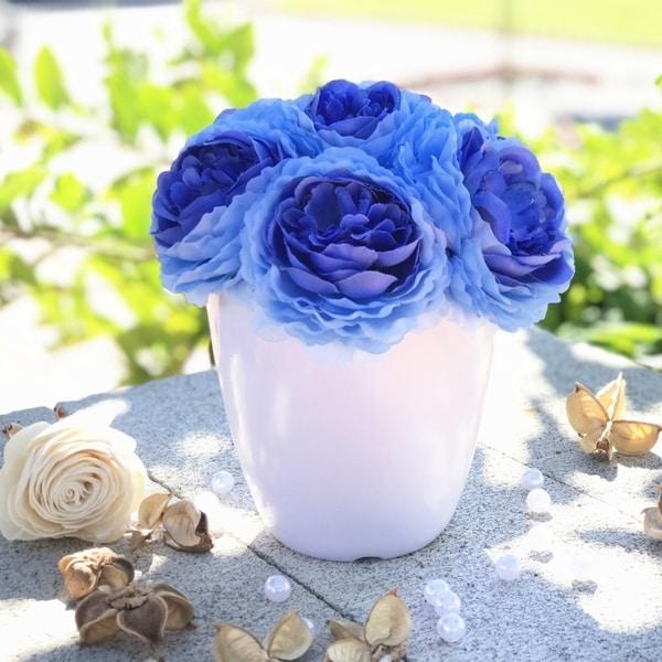 Enova Home Faux Peony Flower Arrangement in White Pot. Opens flyout.