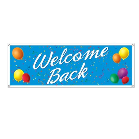"Beistle 5' x 21"" All Weather Welcome Back Party Sign Banner - 12 Pack (1/Pkg)"