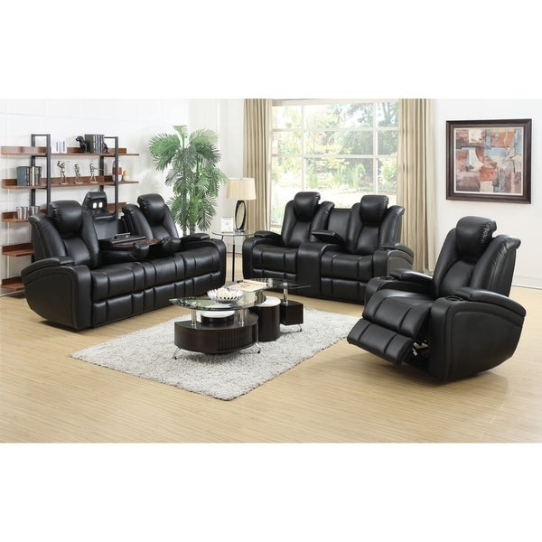 Starbuck Black 3-piece Power Recline Living Room Set