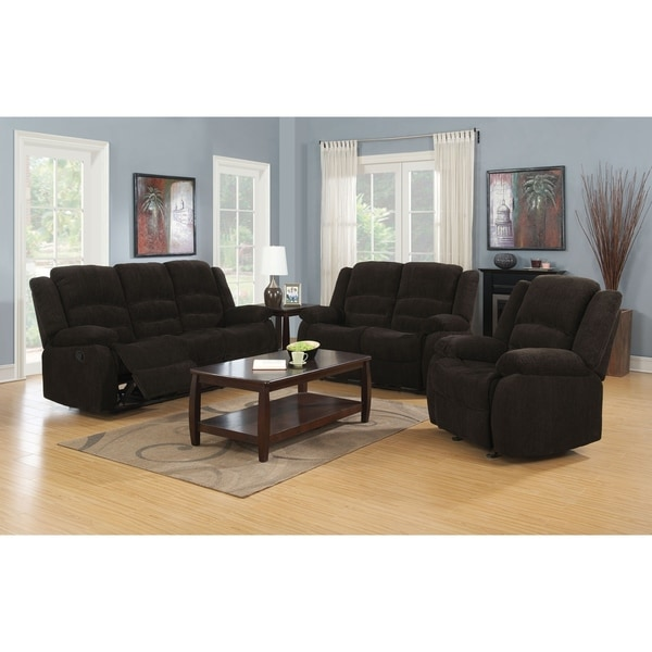 Charter Chocolate 2-piece Chenille Reclining Living Room Set