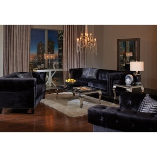 Wickersham Traditional Black 2-piece Living Room Set