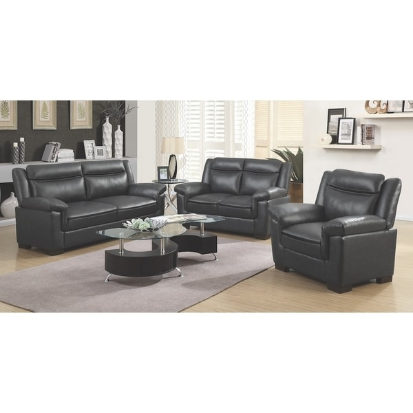 Borden Contemporary 3-piece Faux Leather Living Room Set