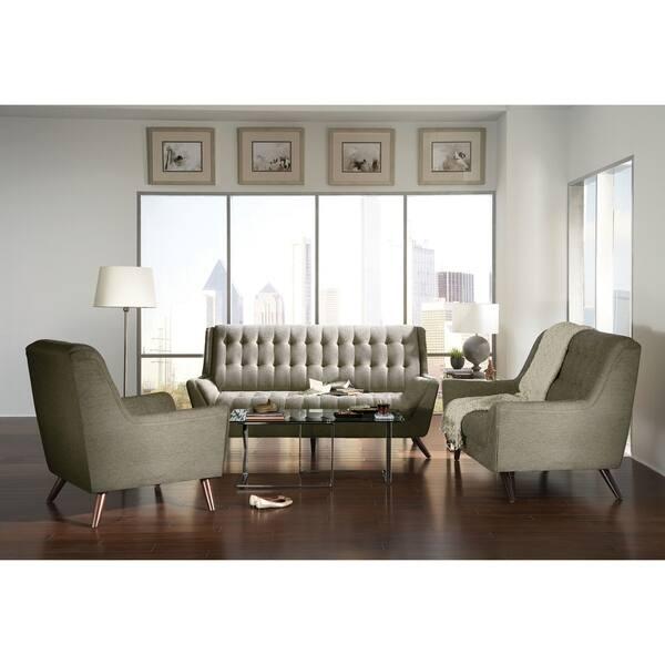 North Beach Mid Century Modern 3 Piece Living Room Set