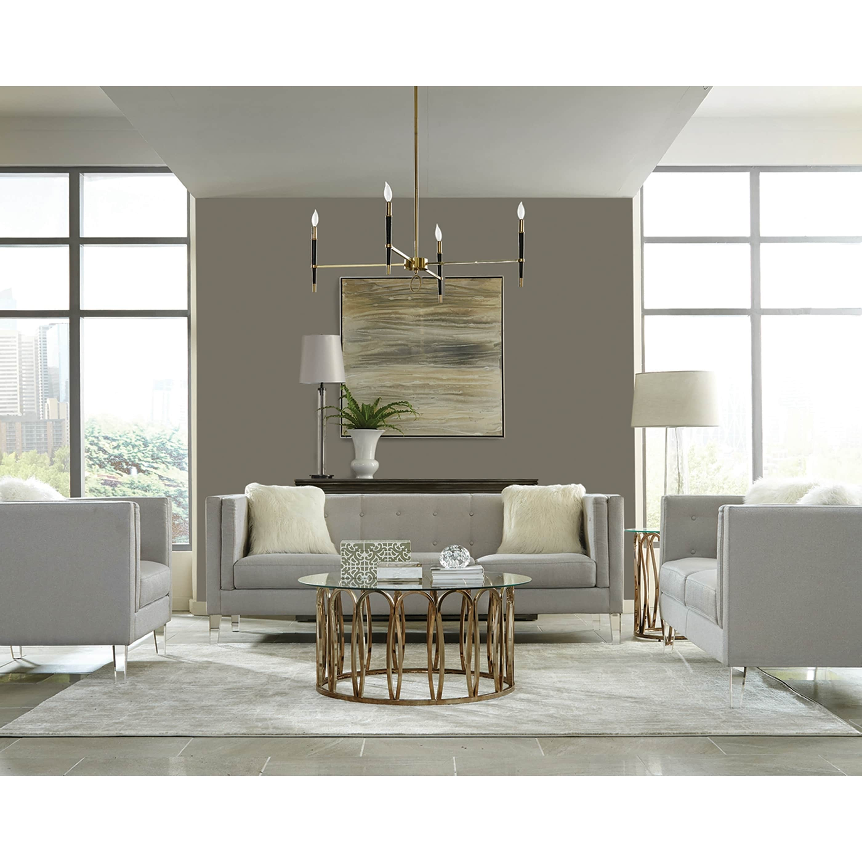Emblem Modern Light Grey 3 Piece Living Room Set