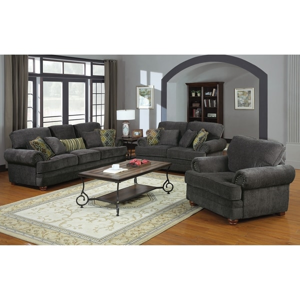 Perkins Smokey Grey 3-piece Living Room Set