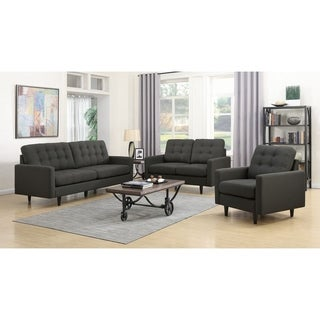 Spectre Mid-century Modern Charcoal 3-piece Living Room Set