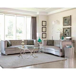 Renfro Transitional Silver 3-piece Velvet Living Room Set