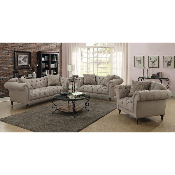 Sienna Traditional Light Brown 3-piece Living Room Set