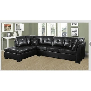 Samantha Contemporary Tufted Bonded Leather Sectional