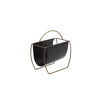 Metal and Leatherette Magazine Rack with Tall Carrying Handle, Black and Gold