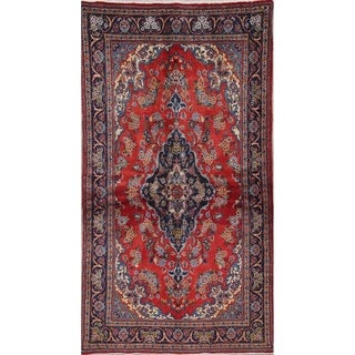 """Kashan Floral Medallion Traditional Hand-Knotted Wool Persian Rug - 6'3"""" x 3'3"""" Runner"""