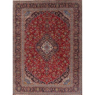 "Kashan Floral Medallion Traditional Hand-Knotted Wool Persian Area Rug - 13'2"" x 9'8"""