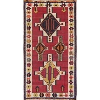 "Kilim Shiraz Geometric Hand-Woven Wool Persian Oriental Rug - 8'2"" x 4'2"" Runner"