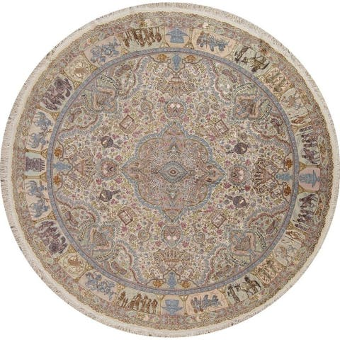 """Antique Tabriz Floral Pictorial Hand-Knotted Wool & Silk Persian Rug - 8'2"""" x 8'2"""" Round"""