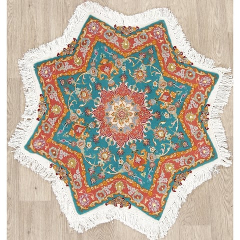 "Tabriz Medallion Traditional Hand-Knotted Wool with Silk Persian Rug - 3'4"" x 3'3""Star"