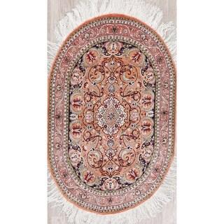 "Antique Hereke Geometric Hand-Knotted Silk Turkish Oriental Rug - 4'2"" x 2'8"" Oval"