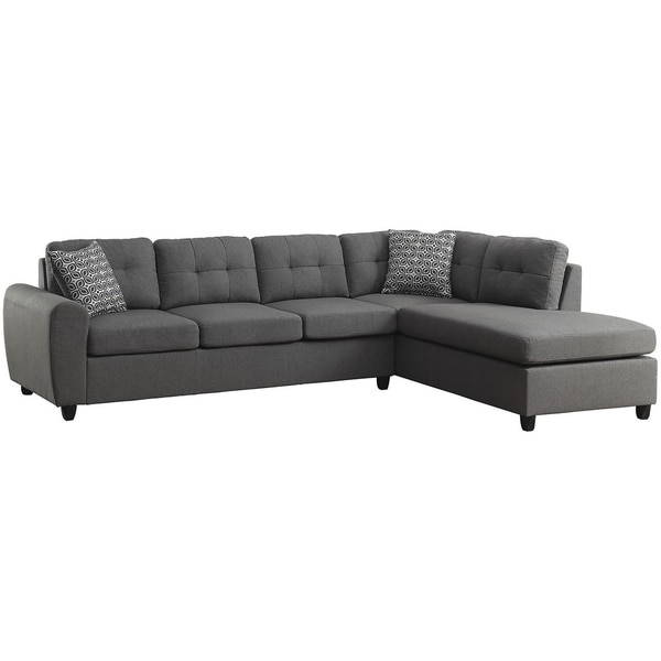 Balta Contemporary Grey Button-tufted Sectional. Opens flyout.