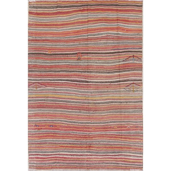 "Vintage Kilim Shiraz Striped Hand-Woven Wool Persian Oriental Area Rug - 8'10"" x 6'2"""