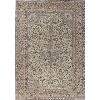 """Kashan Floral Medallion Traditional Hand-Knotted Wool Persian Area Rug - 13'0"""" x 9'1"""""""
