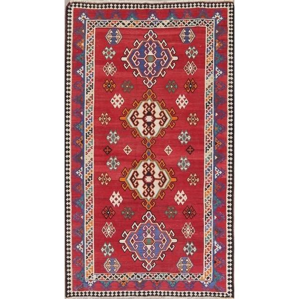 "Kilim Shiraz Geometric Hand-Woven Wool Persian Oriental Area Rug - 9'4"" x 5'6"""