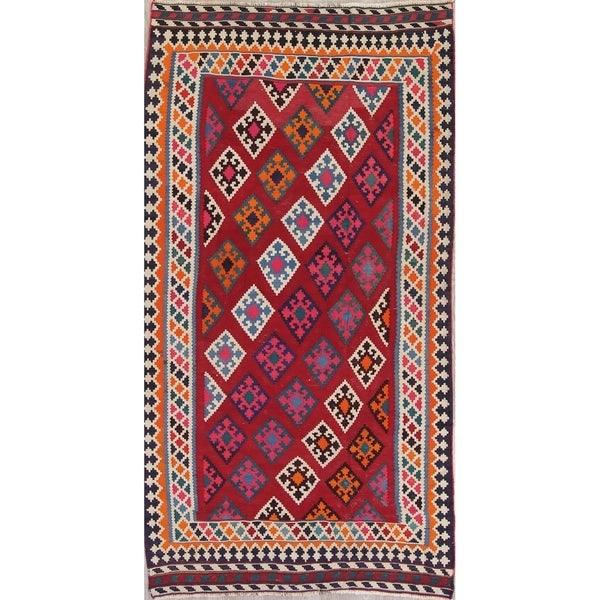 "Kilim Qashqai Geometric Hand-Woven Wool Persian Oriental Rug - 9'7"" x 5'3"" Runner"