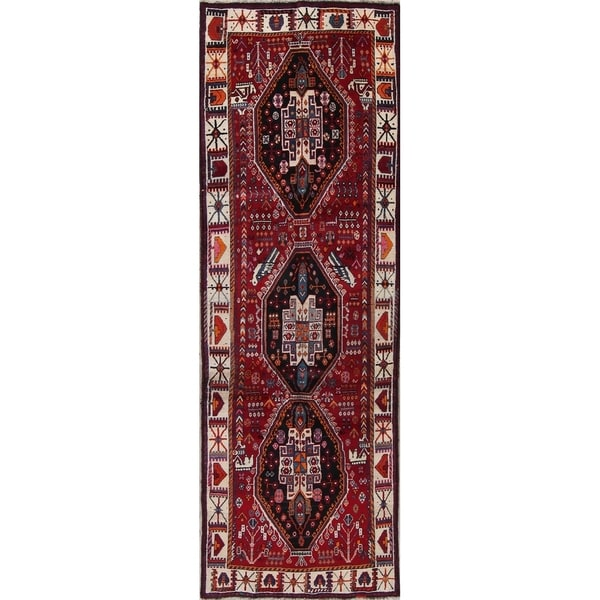 "Shiraz Tribal Geometric Hand-Knotted Wool Persian Oriental Rug - 9'7"" x 3'6"" Runner"