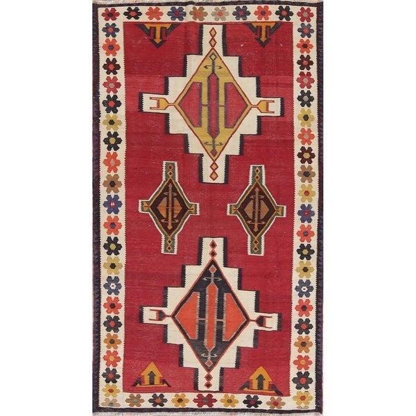 "Kilim Kashkoli Geometric Hand-Woven Wool Persian Oriental Rug - 7'10"" x 4'4"" Runner"