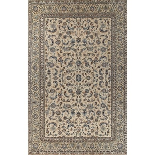"""Antique Kashan All-Over Floral Hand-Knotted Wool Persian Area Rug - 15'0"""" x 9'8"""""""