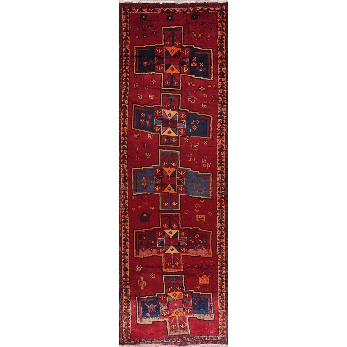 Antique Lori Geometric Hand Knotted Wool Persian Oriental Rug 13 0 X 4 2 Runner