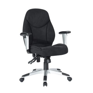 Porch & Den Zabaco Mid-back Black Fabric Ergonomic Swivel Task Chair