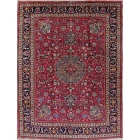 "Antique Mashad Geometric Hand-Knotted Wool Persian Oriental Area Rug - 12'9"" x 9'7"""