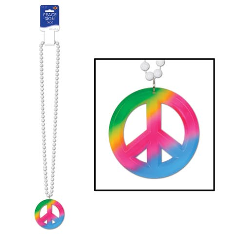 "Beistle 36"" Decorative Party Beads with Tie Dyed Peace Sign Medallion - 12 Pack (1/Card)"