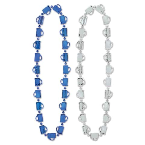 """Beistle 33"""" Oktoberfest Mug Party Beads, Assorted Blue and Silver - 12 Pack (2/Card)"""