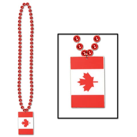 """Beistle 36"""" Decorative Party Beads with Printed Canadian Flag Medallion - 12 Pack (1/Card)"""