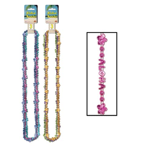 """Beistle 36"""" Luau Party Aloha Decorative Beads of Expression - 12 Pack (3/Card)"""