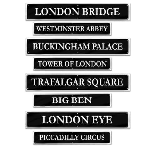 """Beistle 4"""" x 24"""" British Street Sign Cutouts, Printed 2 Sides - 12 Pack (4/Pkg)"""
