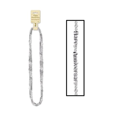 """Beistle 36"""" Happy Anniversary Beads of Expression, Silver - 12 Pack (2/Card)"""