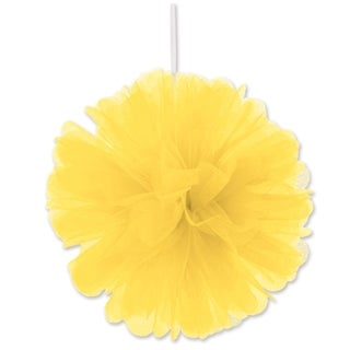 "Beistle 8"" Home Party Hanging Tulle Ball Decoration, Yellow - 12 Pack (2/Pkg)"