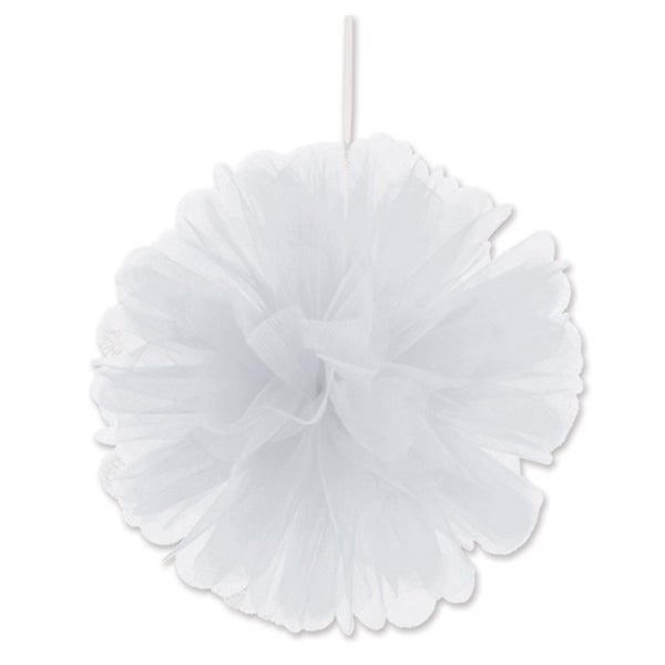 """Beistle 8"""" Home Party Hanging Tulle Ball Decoration, White - 12 Pack (2/Pkg)"""