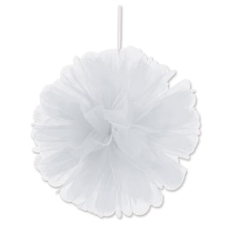 "Beistle 8"" Home Party Hanging Tulle Ball Decoration, White - 12 Pack (2/Pkg)"
