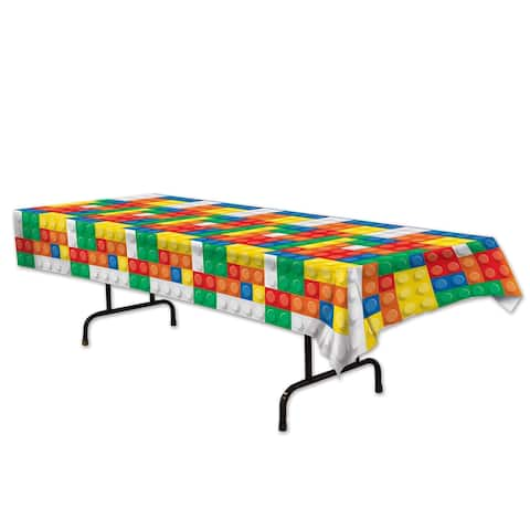 "Beistle 54"" x 108"" Plastic Building Blocks Party Tablecover - 12 Pack (1/Pkg)"