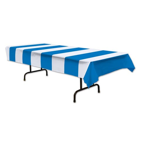 "Beistle 54"" x 108"" Oktoberfest Blue and White Stripes Party Tablecover - 12 Pack (1/Pkg)"