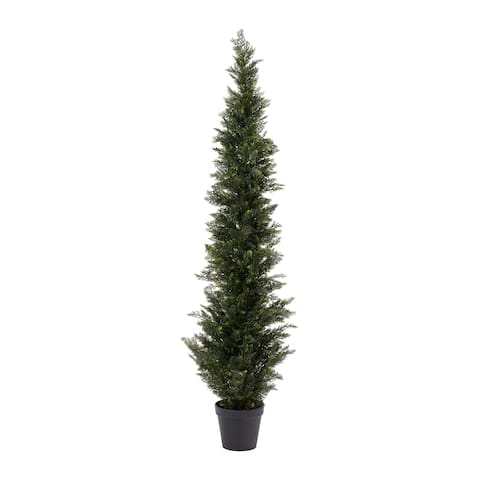 Pure Garden Artificial Potted Cedar Plastic 6' Tall Indoor/Outdoor UV Protection Topiary Tree