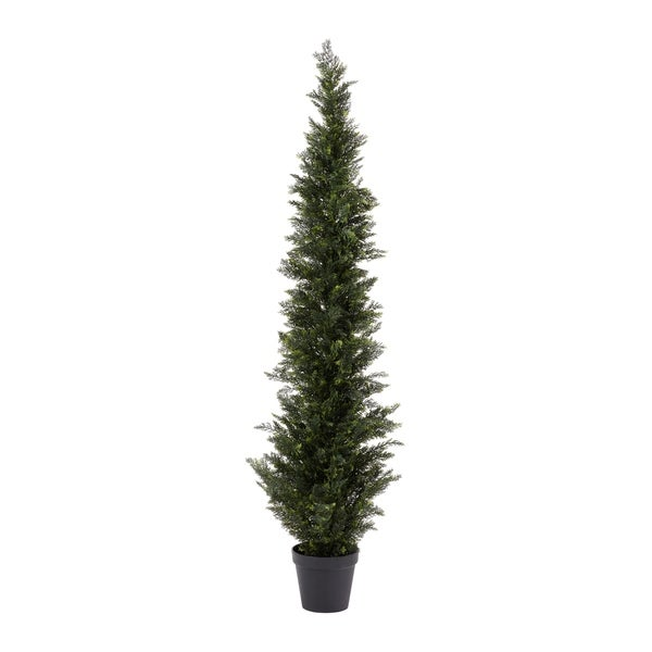 Pure Garden Artificial Potted Cedar Plastic 6' Tall Indoor/Outdoor UV Protection Topiary Tree. Opens flyout.